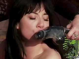 Tied up slut banged outdoor in group