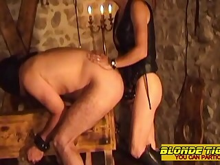 2 hot dominas with their slave  amateurs compilation