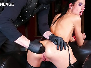FORBONDAGE  Brunette July Sun Tied Up And BDSM Humiliated