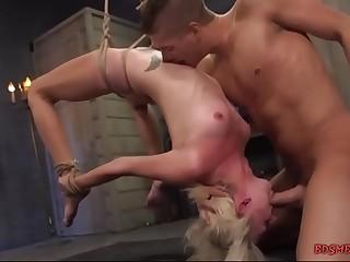 Cute blonde babe enjoying hardcore BDSM sex
