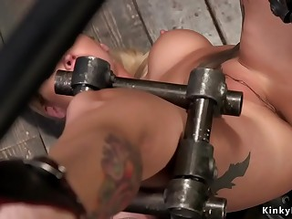 Big-titted alt blonde toyed in device bondage