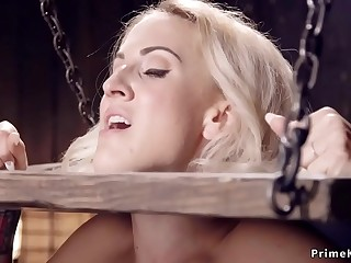 Blonde in device bondage made squirting