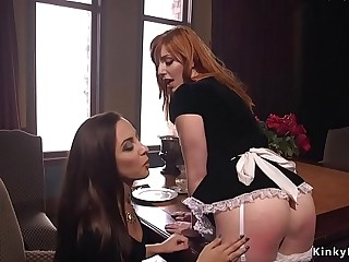 Husband fucks wife and busty maid bdsm