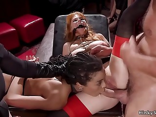 Redhead anal screwed while ebony licking