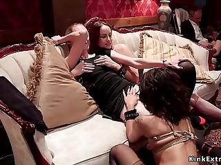 Big boobs redhead and ebony fuck big dick