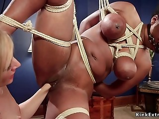 Huge ass dark-hued lesbian gets whipped