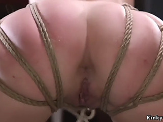 Bushy thrall in string slavery acquires anal training