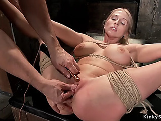 Bound up and spreaded breasty goldenhaired molested
