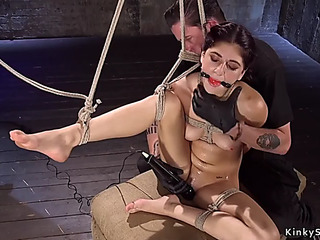 Gagged playgirl in strict thraldom receives bastinado
