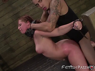 Manacled redhead autumn kline doggystyled in advance of facial