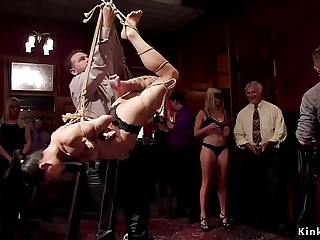 Senior slaves initiate babe for anal