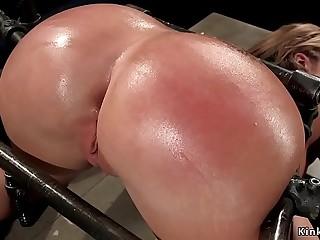 Pawg huge tits sub spanked in bondage