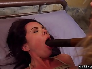 Petite lesbian slave whipped and fucked