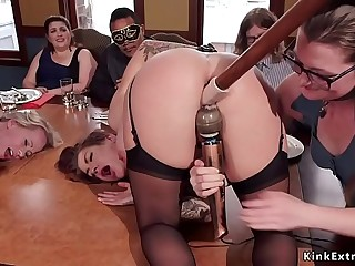 Two busty slaves anal banged at brunch party