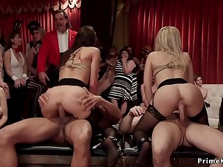 Dominatrix made her slaves orgy fucking