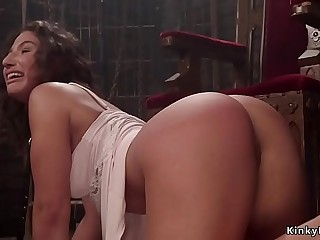 Curvy ass slave hard whipped lezdom