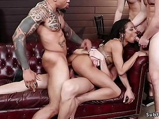 Four dudes dp fucking ebony slave