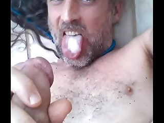 mistress ama clea part 3 american jerking off shooting cumming in slut mouth bitch loves cock and eating cum