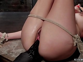 Huge tits gagged slave made squirting