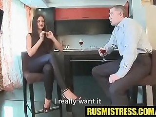 Femdom slave training session with Russian mistress and her pathetic male dog