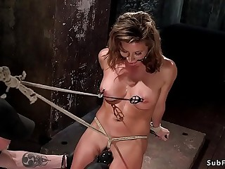 Busty Milf slave ass and pussy toyed