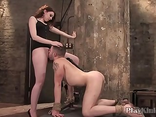 Horny babe enjoys getting fucked in bondage