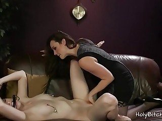 Lesbians enjoying anal in BDSM with strapon