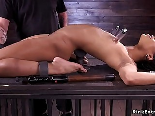 Blindfolded ebony slave pussy fondled