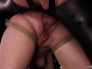Tied up trainee gets asshole pounded