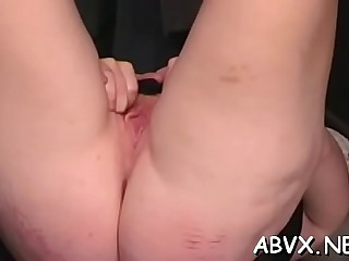 Appetizing woman first time fake penis masturbation