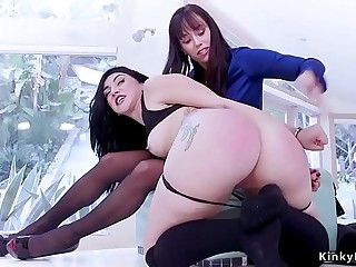 Milf spanks her big ass step daughter