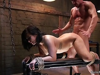 Busty brunette anal fucking training