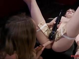 Teenie gets dildoed by a lesbian milf