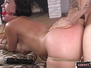 Gagged beauty hardfucked by her master