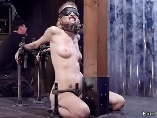 Gagged blindfolded blonde tormented