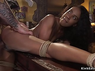 Dude bangs deep throat tied up ebony