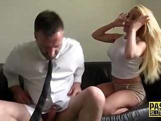 Tied up busty milf take the weight