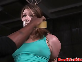 Brunette chick is tied up and teased