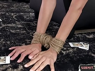 Bound obedient milf gets facialized