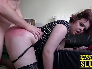 Teary eyed sub lashed until her ass cheeks turn red