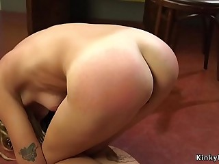 Lesbian Milf whips roomie in kitchen