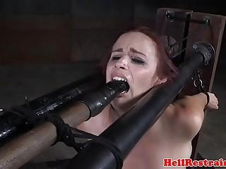 Flogged submissive babe sucking on dildo