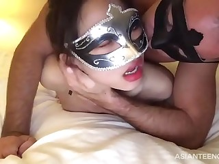 Kinky pervert shags his Asian gf in front of webcam