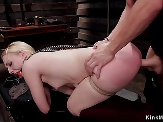 Sexy butt blonde sub takes huge dick