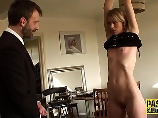 Tied up obedient milf