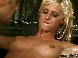 Smalltits euro sub disrobed and finger fucked