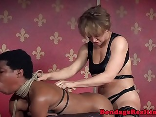 Cocksucking ebony hardfucked by chesty femdom